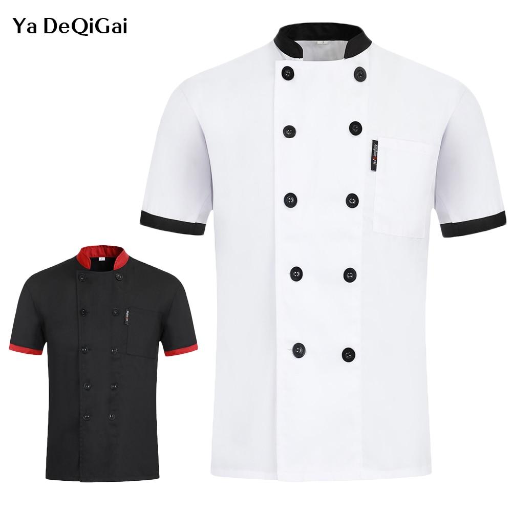 Unisex Short Sleeve Double Breasted Chef Jacket Hotel Kitchen Chef Jacket Restaurant Cafe Shop Waiter Work Uniform M-4XL Summer