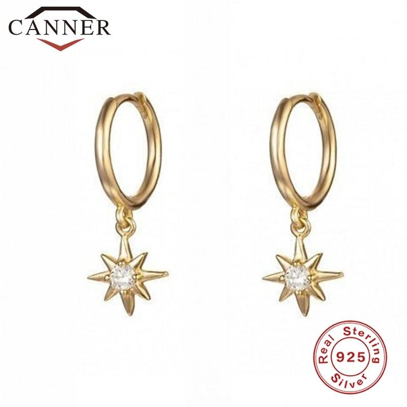 925 Sterling Silver Hoop Earrings for Women Minimalist INS Anise Star Small Sun CZ Crystal Zircon Earrings Fashion Jewelry 2019