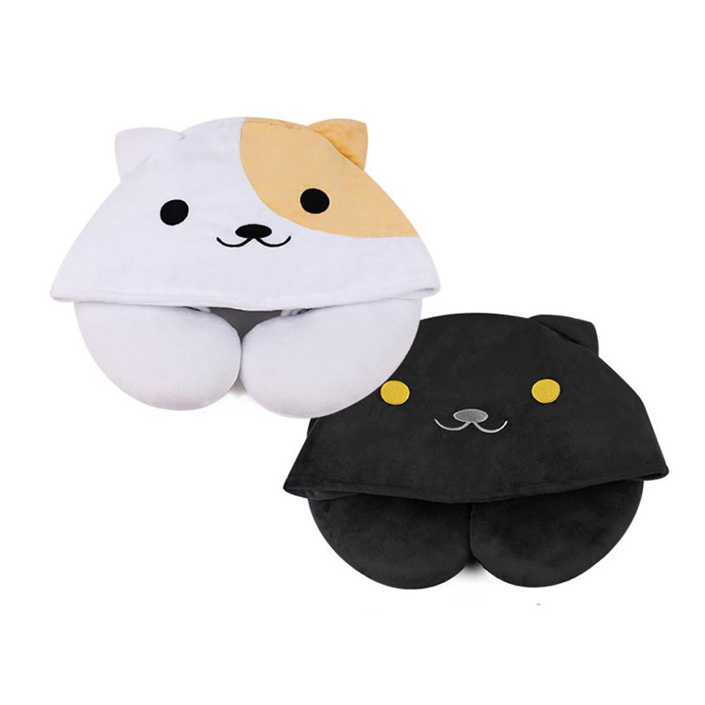 Soft U-Shaped Plush Sleep Neck Protection Pillow Office Cushion Cute Lovely Travel Pillows With Hat For Children/Adults