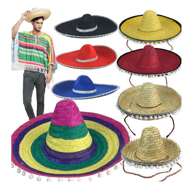 Natural  Men Straw Mexican Sombrero  Hat Women Colorful  Birthday Party Decoration Tabletop Party Hats