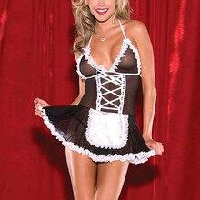 Платье горничной для ролевых игр для женщин сексуальное кружевное нижнее белье стринги сексуальное мини-платье Ночная одежда disfraz mujer
