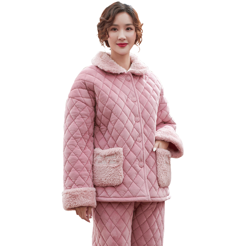 Pajamas women three layers winter thick quilted girl's warm flannel sweet lovely jacket winter casual coral fleece home service