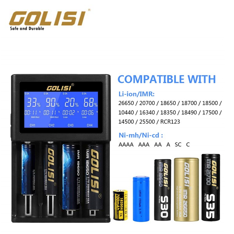 Golisi I2 I4 I1 LCD Display USB Port Smart Lite Battery Charger For Li-ion/Ni-mh/Ni-cd Battery 2Slots