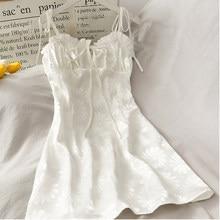 Kawaii coreano vestido feminino cinta de espaguete casual a line feminino verão bonito mini vestidos doce daisy vestidos roupas