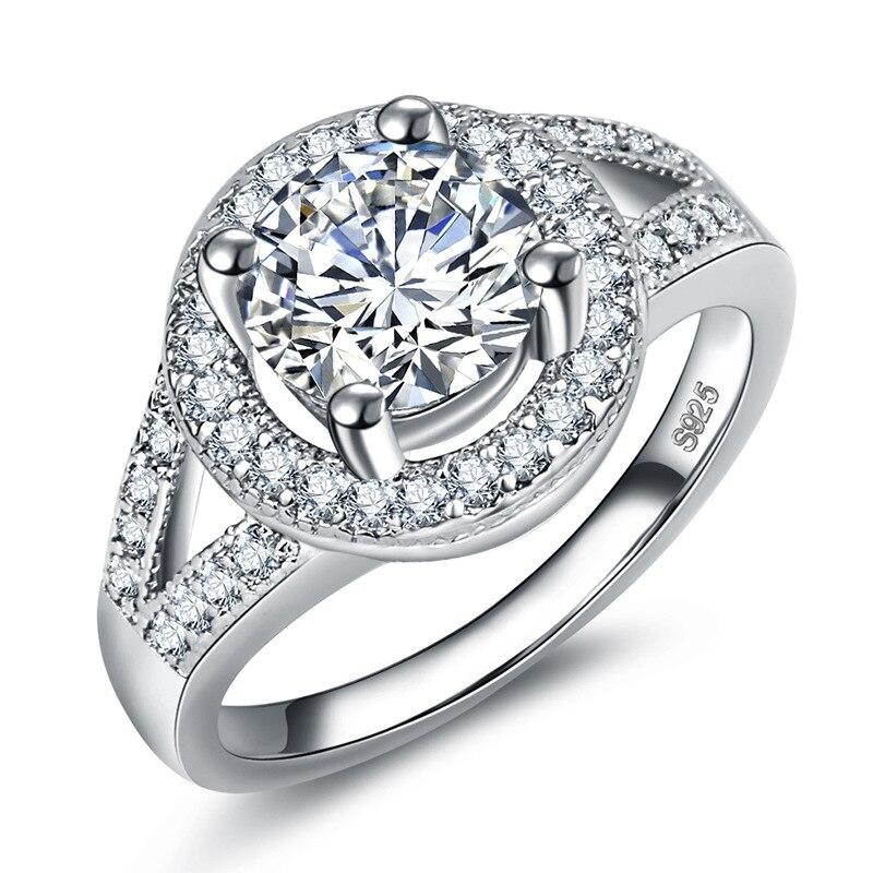 Hot Sale Fashion Luxury Women Engagement Jewelry 925 Silver 5A ZC Crystal Zircon Female Wedding Finger Flower Rings