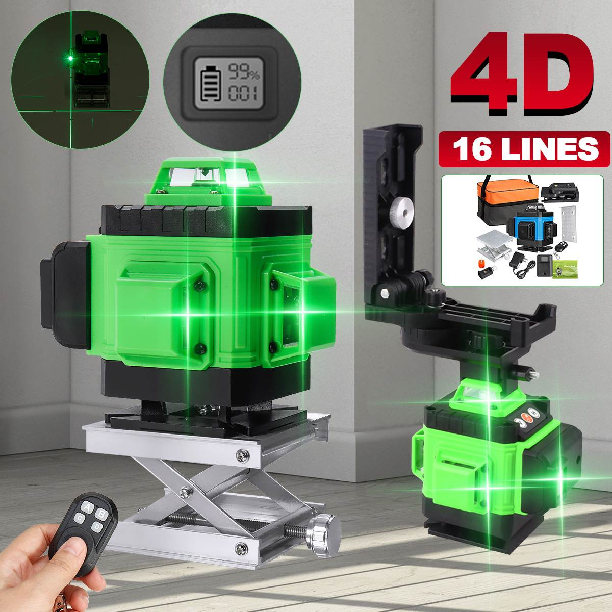 16 Lines 4D Laser Level Green Lines Self-Leveling 360 Horizontal And Vertical Cross High Precision Outdoor Powerful Laser Beam