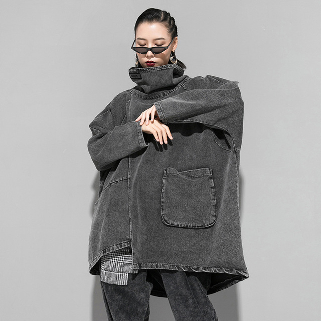 [EAM] Loose Fit Black Denim Oversized Sweatshirt New High Collar Long Sleeve Women Big Size Fashion Spring Autumn 2021 1K166 3