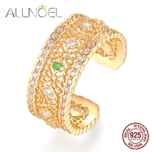 ALLNOEL Genuine 925 Sterling Silver Rings For Women Tsavorite White Zircon Vintage Retro Marriage Wedding Fine Jewelry  Bijoux