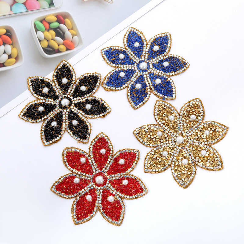 Colors Flower Crystal Rhinestone Patches for Clothing Iron on Clothes Appliques Badge Stripes Diamond Pearl Stickers