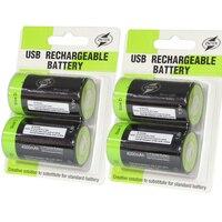 ZNTER-Batería de 1,5 V 4000mAh, Micro USB, recargable, D Lipo LR20, para cámara RC, accesorios para Dron, 4 Uds.