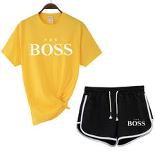 Women's T-shirt print letter T-shirt casual white black shorts fashion suit top = Harajuku spring summer luxury brand 2021
