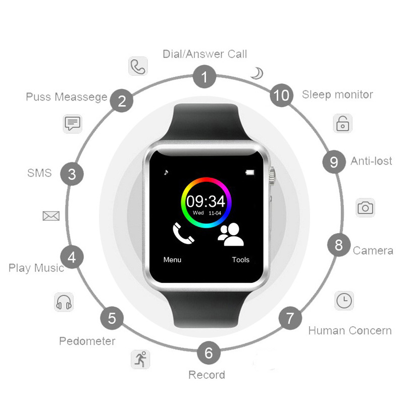 Free-Shipping-A1-WristWatch-Bluetooth-Smart-Watch-Sport-Pedometer-with-SIM-Camera-Smartwatch-For-Android-Smartphone