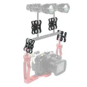 Image 5 - Soporte de abrazadera de brazo para GoPro Hero 7 6 5 4/ Xiaoyi/ Sjcam, aleación de aluminio, 2 orificios, luces de buceo, bola, mariposa