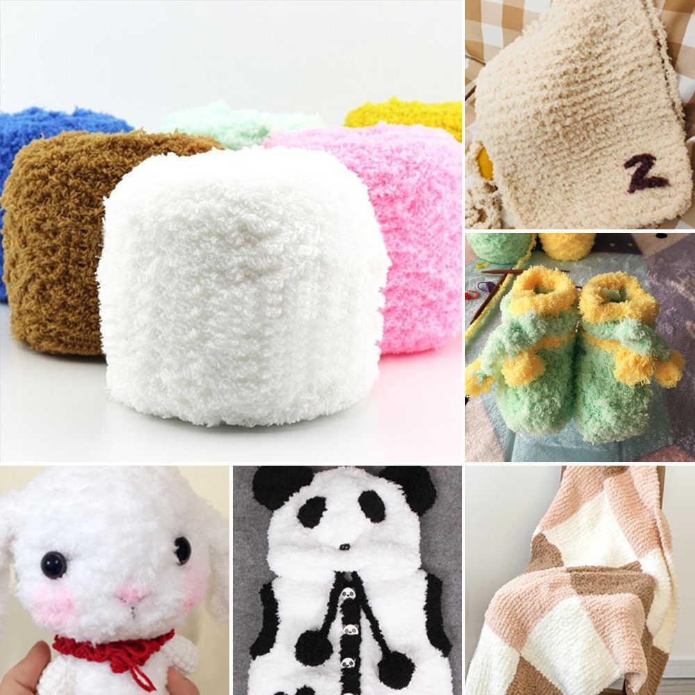 100G de lana natural cálida y suave tejida a mano 3 capas de cachemir coral Cachemira Oso de felpa esponjoso hilo de tela cinta lana sombrero hilo