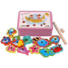 Children Baby Educational Toy Iron Box Fishing Wooden Game Set Novelty Toys Cognition Magnetic Toys Set Kids Birthday Gift 2020(China)