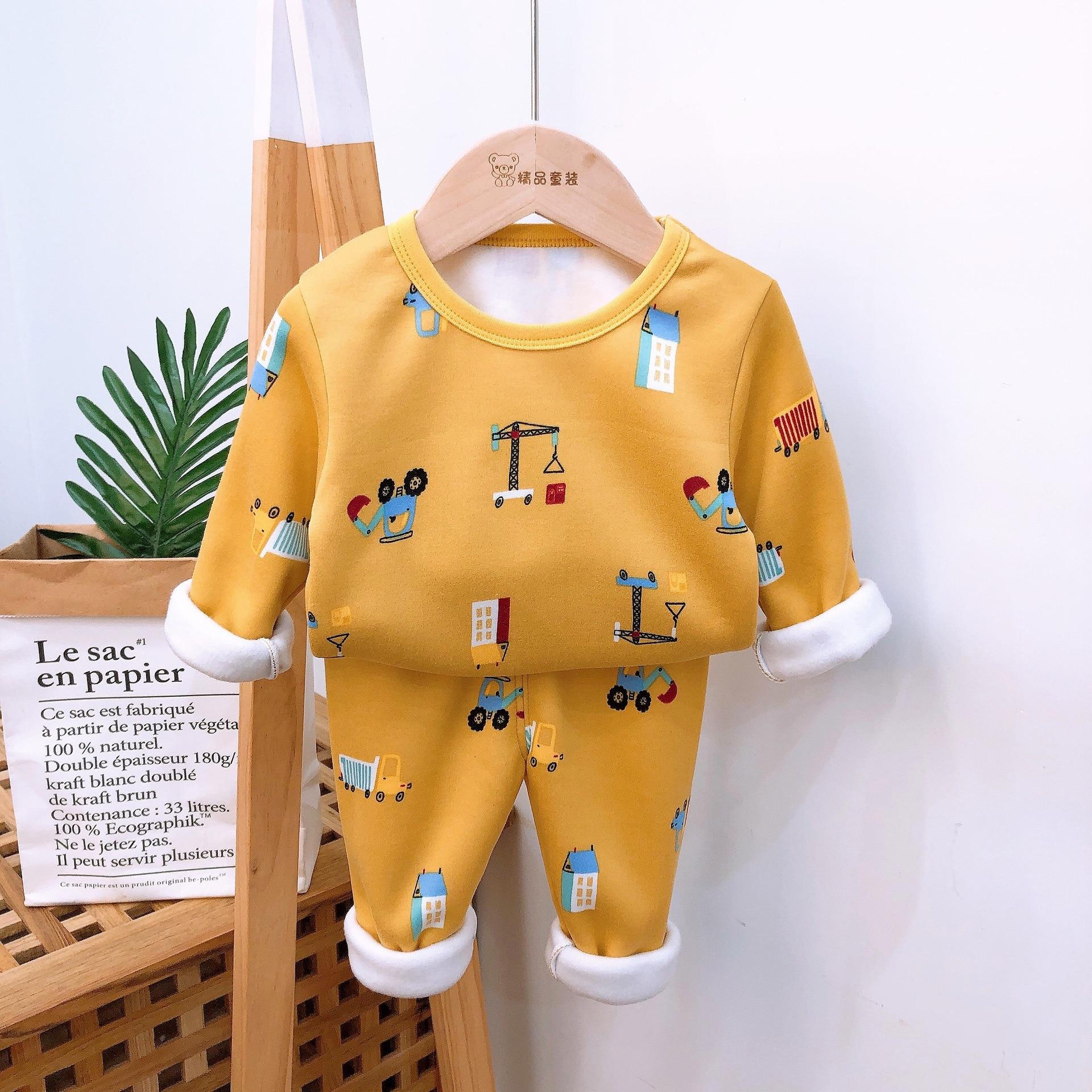 2021 Autumn Winter Thicken Velvet Children Pajamas Cartoon Family Boys Girls Clothing Set Kids Casual Sleepwear Suits Clothes 4