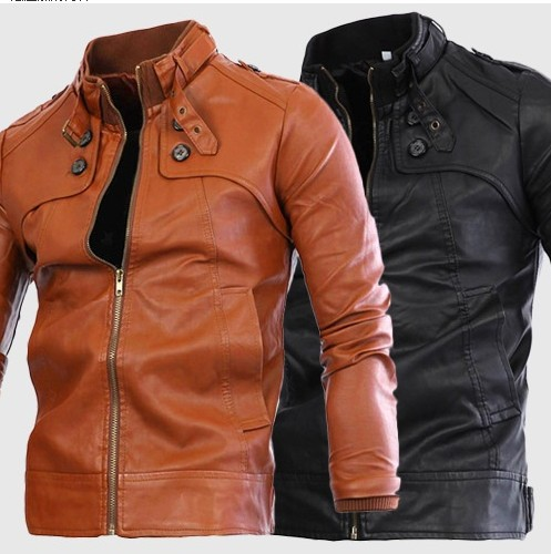 E-Commerce High Quality 2018 Autumn And Winter Men's Motorcycle Leather Coat Stand Collar 4-Button Washed Leather Coat