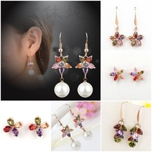 1pair Luxury Korean Style Vintage Sweet Charm Hollow Star Love Heart Bead Statement Dangle Earring for Women Girls Jewelry(China)