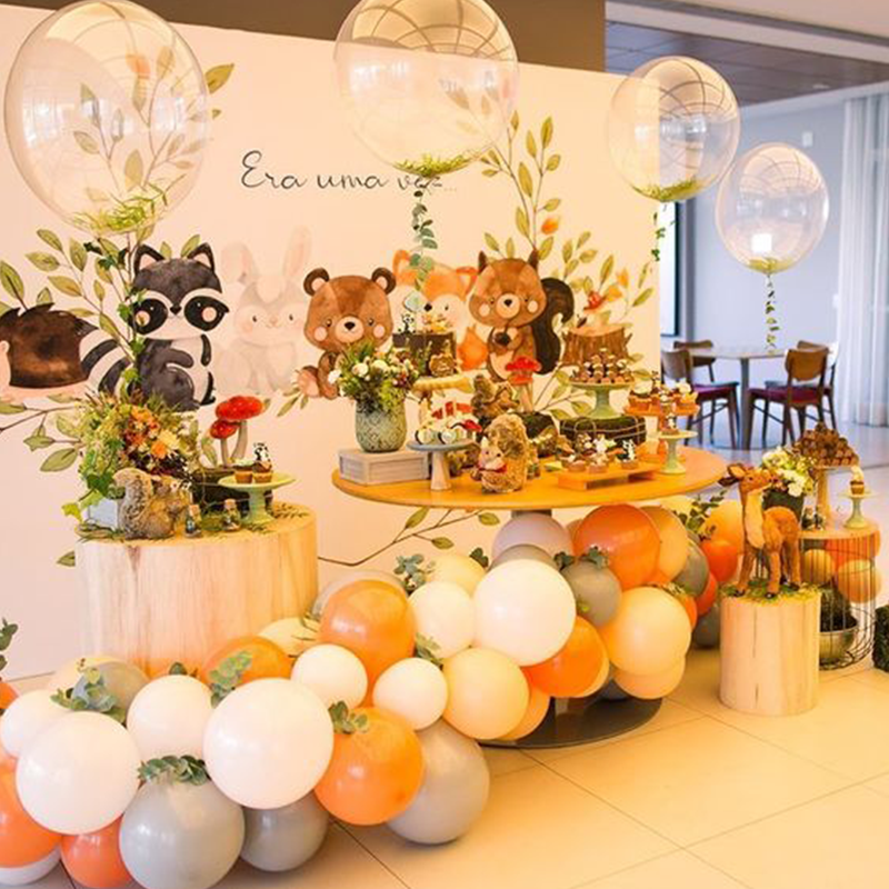 Woodland Forest Theme Baby Shower Birthday Party Balloon Decoration Disposable Tableware Safari Animal Birthday Party Supplies