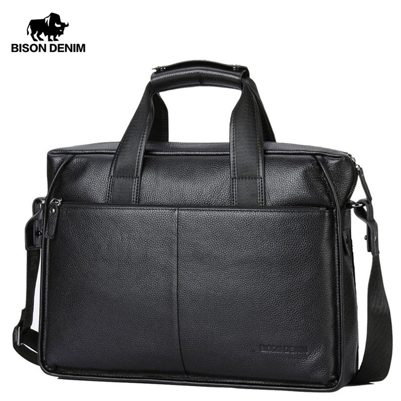 BISON DENIM Cowskin Genuine Leather Men's Briefcase Large Capacity Laptop Soft Messenger Bag Busniss Black Handbag N2237-3