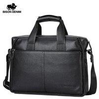 BISON DENIM Genuine Leather Guarantee Briefcase Men Bag 14 inch Laptop Soft Cowhide Messenger Bag Handbag Bag Business N2237 3