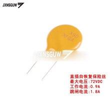 20PCS 72V 0.9A PPTC straight Insert Self-recovery fuse 72V 72V 900mA Pin pitch 5mm