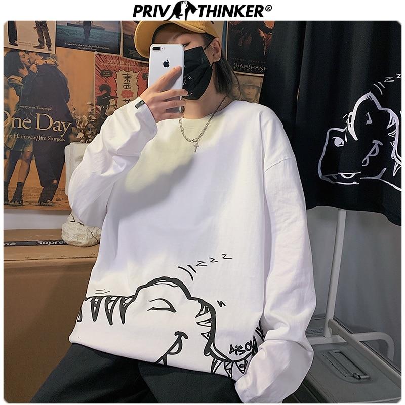 Privathinker Men Woman Dinosaur Print Tshirt Mens Spring 2020 Streetwear Oversize T-Shirt Casual Korean Long Sleeve T-shirts 5XL