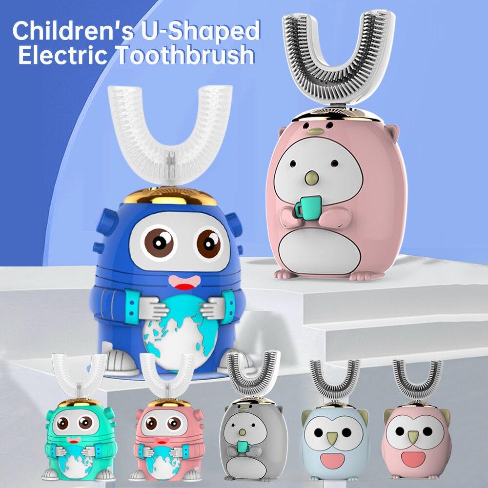 Inteligente 360 degress u sonic escova de dentes elétrica crianças silicone automático ultra sônico escova de dentes luz azul