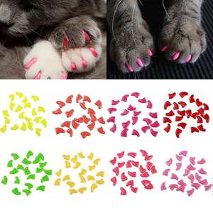 Cat-Supplies Pet-Nail-Protector Cat Paw Soft-Silicone Popular with Glue 20pcs/Set High-Quality