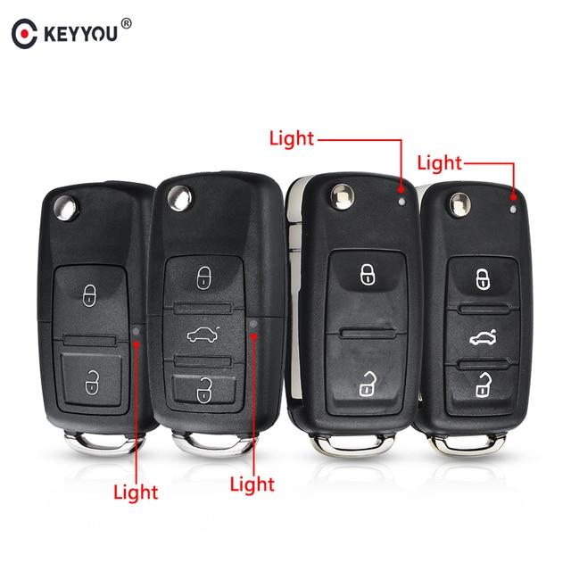 KEYYOU 3 Button Flip Remote Key Shell Car Key Case For VW VOLKSWAGEN Tiguan Golf Sagitar Polo MK6 caddy passat b6 Auto Keys Case