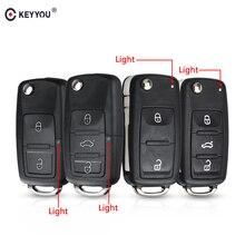 KEYYOU 3 düğme çevirme uzaktan anahtar kabuk araba anahtarı durum için VW VOLKSWAGEN Tiguan Golf Sagitar Polo MK6 caddy passat b6 otomatik tuşları durumda