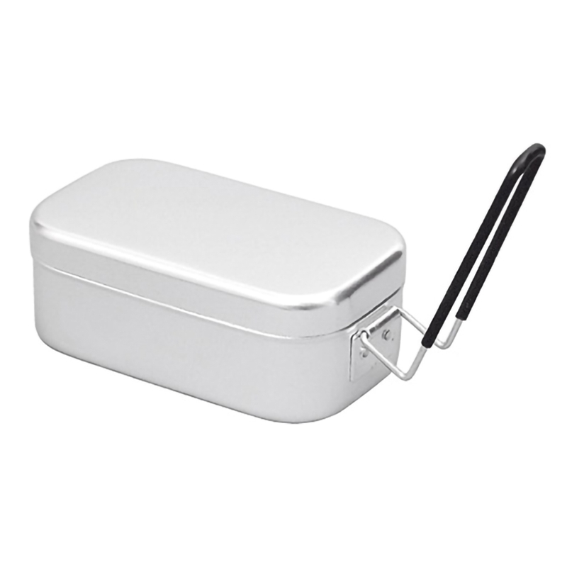 Aluminum Square Lunch Box Foldable Handle Metal Bento Food Picnic Container For Outdoor Travel Camping Picnic image
