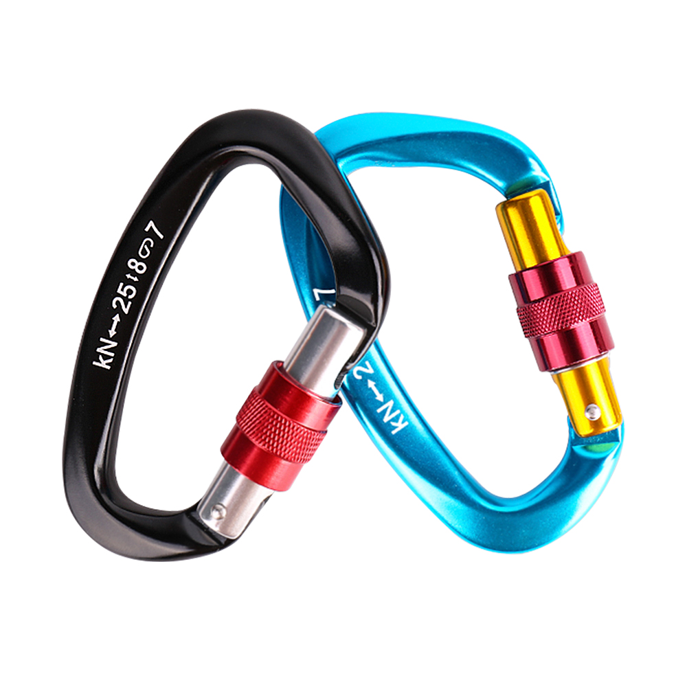 Professional 25KN Climbing Carabiner D Shape Buckle Lock Swivel Snap Keychain Fisnhing Tools Security Safety Aviation Aluminum