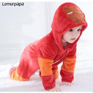 Image 2 - Iron Man Romperเสื้อผ้าเด็กทารกOnesieทารกแรกเกิดการ์ตูนเครื่องแต่งกายตลกCoolชุดนอนFlannel Warmฤดูหนาวทารกเล่นเกมชุด