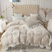 New fresh princess bedding sets Cotton Solid color Lace bedspread Beige ruffle duvet cover bed skirt linen wedding home textile