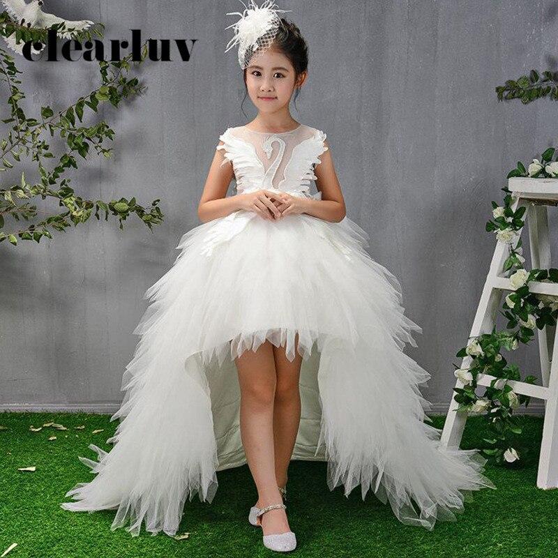 Robes de fille de fleur pour Weddingd B071 blanc perles cristal Tulle filles robe de bal sans manches Tulle Train filles robes de princesse