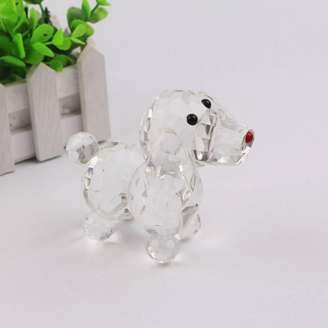 Cute Crystal Dog Figurine Collection Glass Ornament Statue Animal Gift for Home Decor Accessories 3