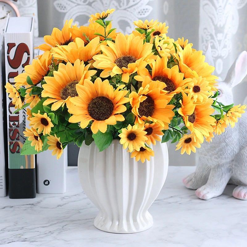 1 Beautiful Sunflower Bouquet Silk Flower High Quality Artificial Flower Home Garden Party Wedding Decoration Diy Artificial Dried Flowers Aliexpress