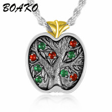 BOAKO Boho Life Tree Necklace Crystal Small Round Pendant Women Long Sweater Chains Fashion Jewelry Gifts 2019