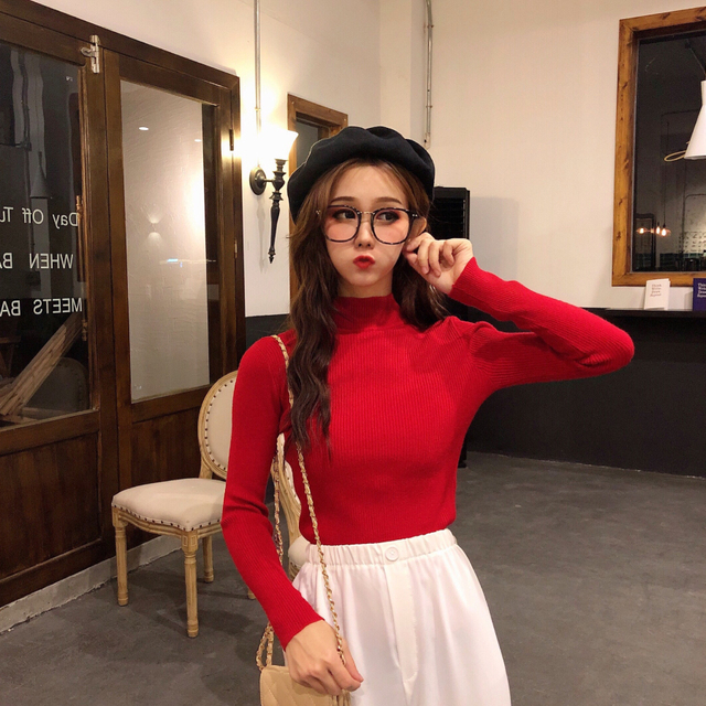 2019 Autumn Winter Women Knitted Turtleneck Sweater Casual Soft Polo-neck Jumper Fashion Slim Femme Elasticity Pullovers 6