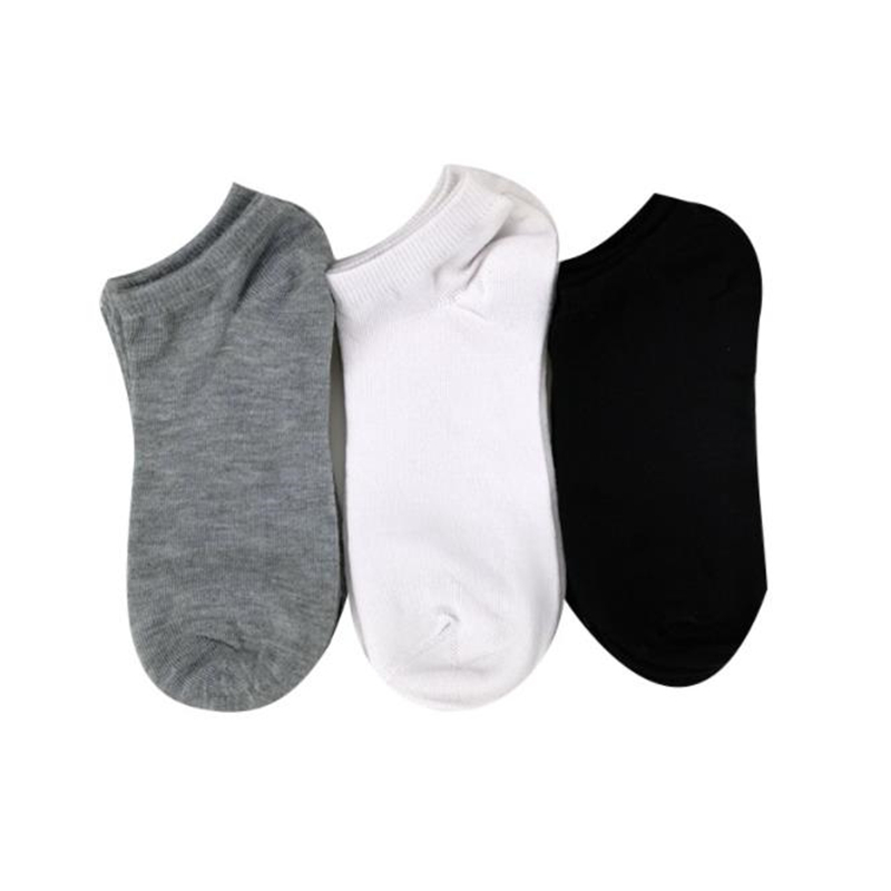 3 Pairs Men Socks Breathable Sports Socks Solid Color Boat Socks Comfortable Cotton Ankle Socks White Black