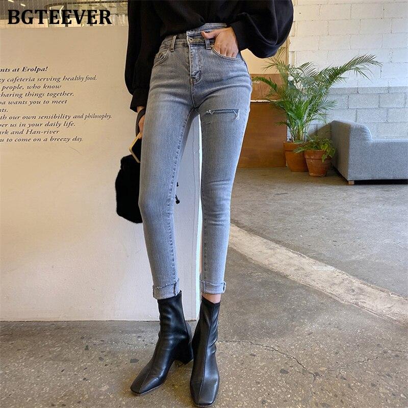 BGTEEVER Streetwear High Waist Buttons Women Jeans Skinny Ripped Holes Pencil Jeans For Women Stretch Denim Pants Femme 2020