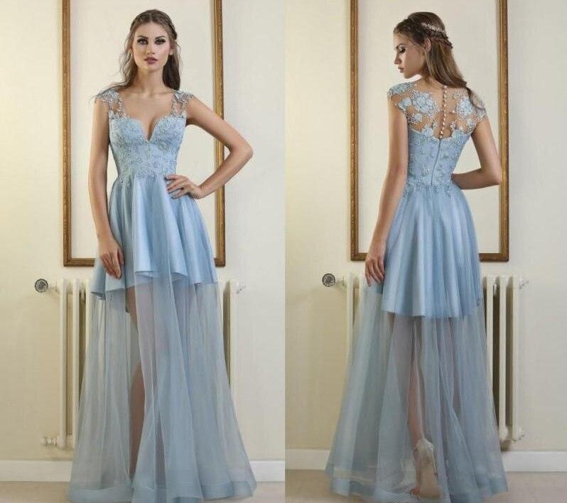 Sky Blue Prom Dresses 2020 Applique Satin Tulle V Neck Floor Length Arabic Evening Dresses Formal Party Wear Illusion Celebrity