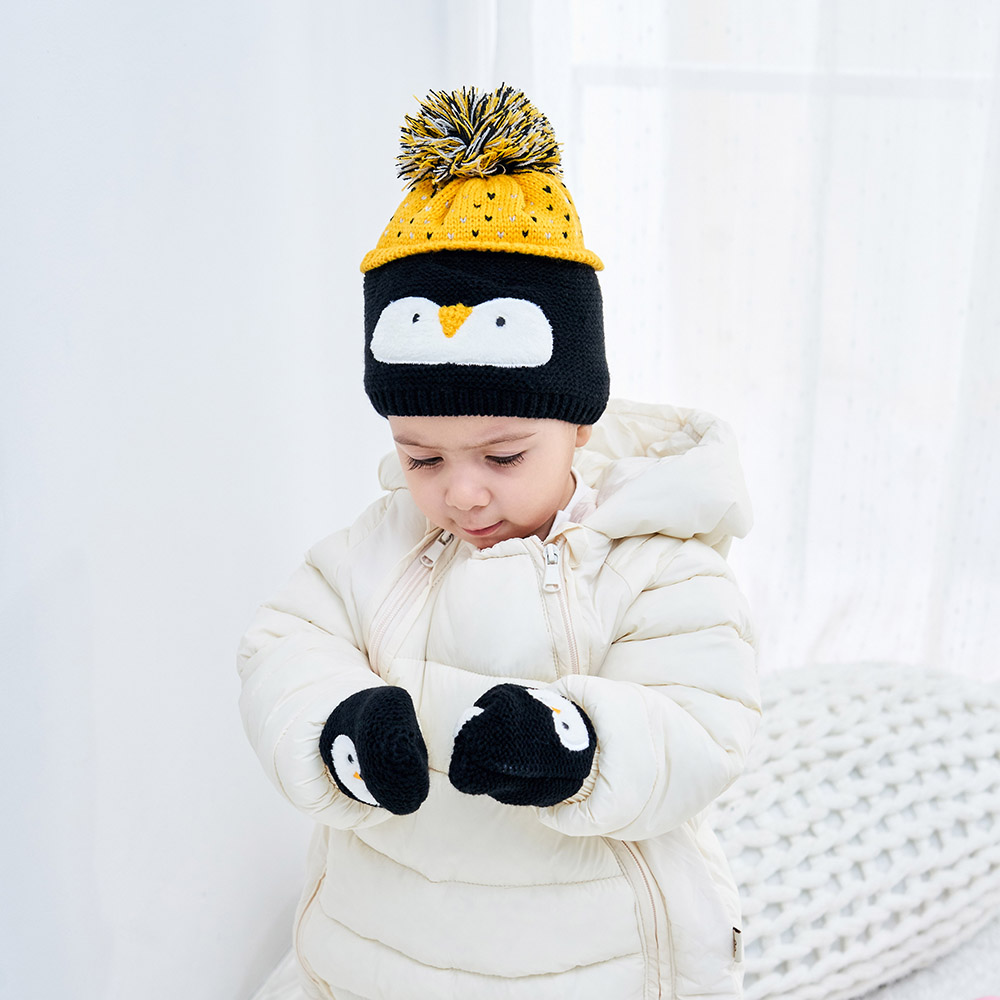 Christmas Penguin Embroidery Beanies Baby Hat Pompon  Children Hat Knitted Cute Cap For Cartoon Girls And Boys Beanies Baby Hat