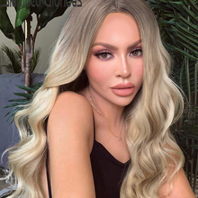 Stamped Glorious Long Wave Wig Ombre Black Blonde Wig Synthe