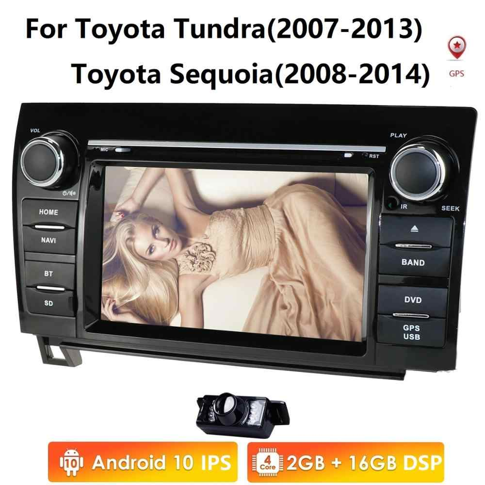 7 pouces 2 Din HD 1024x600 Quad Core Android 10 voiture DVD GPS pour Toyota Tundra Sequoia 2008-2013 Radio stéréo 4G WiFi OBD DVR DAB +