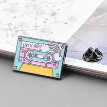Fita cassete colorida, fita para cassete de esmalte, broches de música com lapela, joias de presente para amigos 90s