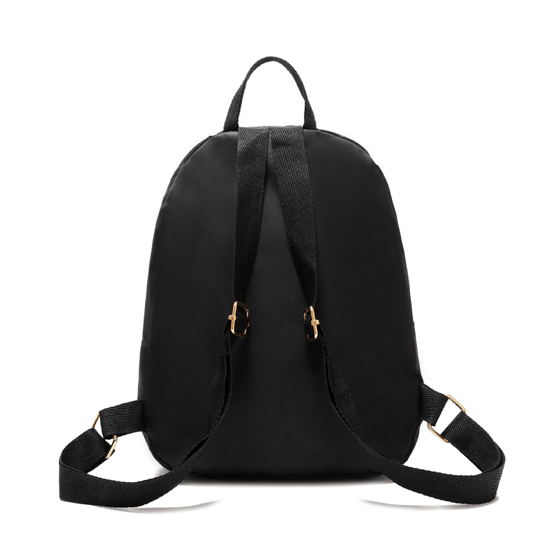 Hbf10dc0c01884b658e282570431cad6ei - Women Simple Three Zipper Solid Black Nylon Waterproof Backpack Student Kids Small Lightweight Durable School Bag Bookbag BA0180