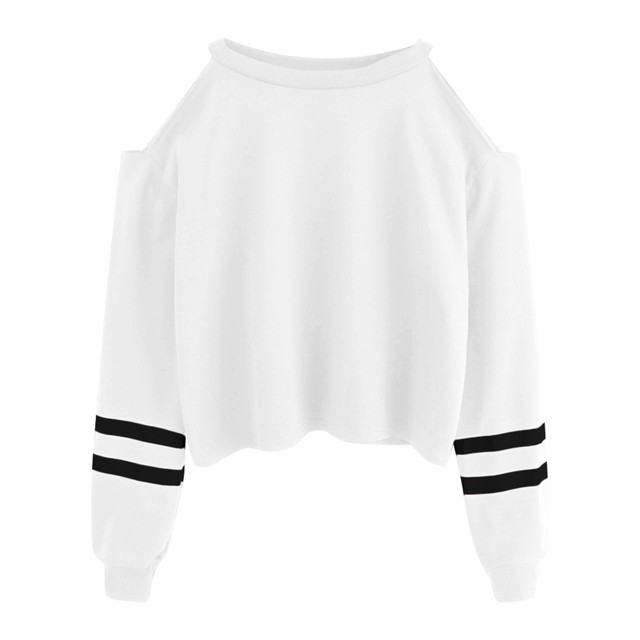 Home Nest New Sweatshirts Female Striped Crop Sweatshirt Hoodies Women Long Sleeves Hoody For Women Autumn Spring Pullover Tops