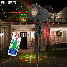 ALIEN Remote Red-green 24 Patterns Outdoor Laser Projector Christmas Party Garden Wall Tree House Waterproof Decoration Lighting